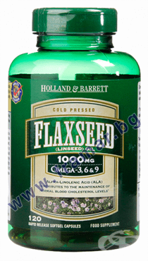 Изображение към продукта ЛЕНЕНО МАСЛО СТУДЕНО ПРЕСОВАНО капсули 1000 мг * 120 HOLLAND BARRETT