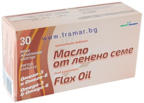 ЛЕНЕНО МАСЛО капсули 1000 мг. * 30 ФИТОФАРМ - изображение