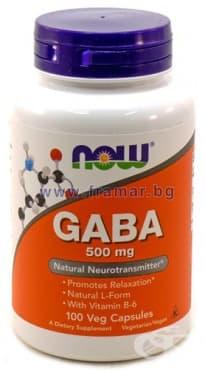 Изображение към продукта НАУ ФУДС ГАБА + ВИТАМИН Б 6 капс. 500 мг. * 100