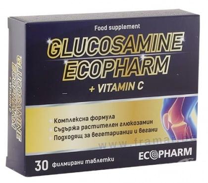 Изображение към продукта ГЛЮКОЗАМИН + ВИТАМИН C таблетки * 30 ЕКОФАРМ
