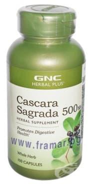 Изображение към продукта КАСКАРА САГРАДА капсули 500 мг. * 100  GNC