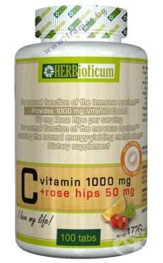 ХЕРБИОТИКУМ ВИТАМИН Ц 1000 mg + ШИПКА 50 mg таблетки*100 - изображение
