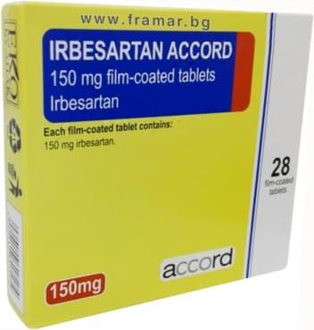 Изображение към продукта ИРБЕСАРТАН АКОРД филмирани таблетки 150 мг. * 28 ACCORD HEALTHCARE LTD