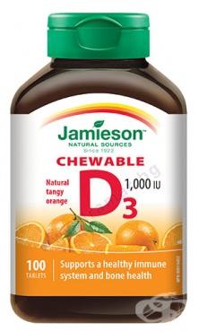 Изображение към продукта ДЖЕЙМИСЪН ВИТАМИН D3 дъвчащи таблетки с вкус на портокал 1000 UI * 100