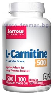 Изображение към продукта ДЖАРОУ ФОРМУЛАС L-КАРНИТИН капсули 500 мг * 100