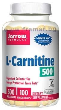 ДЖАРОУ ФОРМУЛАС L-КАРНИТИН течни капсули 500 мг * 100 - изображение