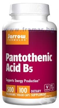 Изображение към продукта ДЖАРОУ ФОРМУЛАС ПАНТОТЕНОВА КИСЕЛИНА (ВИТАМИН Б 5) капсули 500 мг * 100