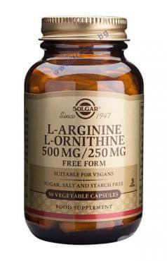 L - АРГИНИН 500 мг. + L - ОРНИТИН 250 мг. капс. * 50 СОЛГАР - изображение
