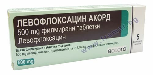 ЛЕВОФЛОКСАЦИН АКОРД филмирани таблетки 500 мг. * 5 ACCORD HEALTHCARE LTD - изображение