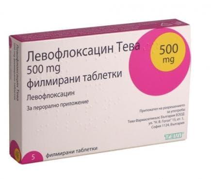 Изображение към продукта ЛЕВОФЛОКСАЦИН таблeтки 500 мг * 5