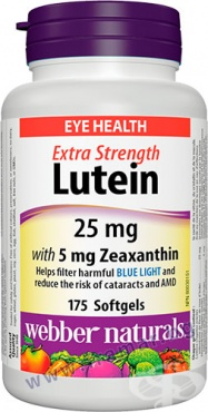 Изображение към продукта ЛУТЕИН 25 мг + ЗЕАКСАНТИН 5 мг капсули * 175 УЕБЪР НАТУРАЛС