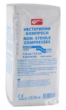 Изображение към продукта КОМПРЕСИ НЕСТЕРИЛНИ 7.5 см./7.5 см. * 8 ДИПЛИ  * 100 БР