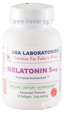 Изображение към продукта МЕЛАТОНИН капсули 5 мг * 30 USA LABORATORIES