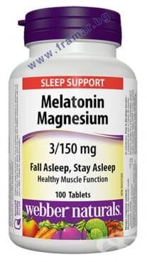 МЕЛАТОНИН 3 мг. + МАГНЕЗИЙ 150 мг. таблетки * 100 УЕБЪР НАТУРАЛС - изображение