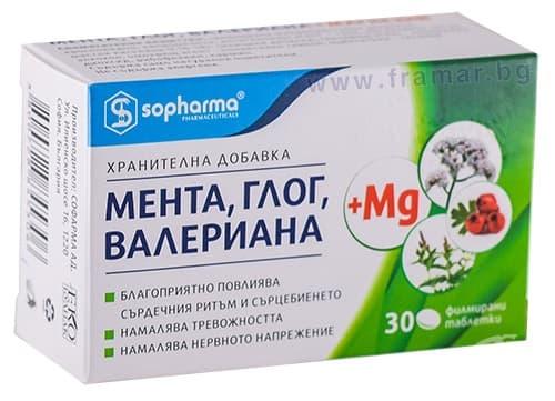Изображение към продукта МЕНТА ГЛОГ ВАЛЕРИАНА + Mg таблетки * 30 МЕДИКА