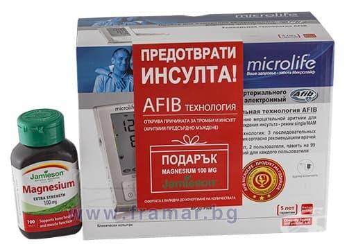 ЕЛЕКТРОНЕН АПАРАТ ЗА ИЗМЕРВАНЕ НА КРЪВНО НАЛЯГАНЕ МИКРОЛАЙФ BP A6 PLUS + ПОДАРЪК ДЖЕЙМИСЪН МАГНЕЗИЙ таблетки 100 мг. * 100