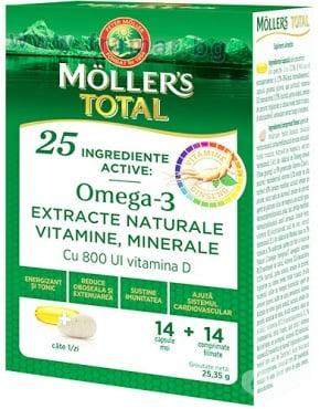 Изображение към продукта МЬОЛЕРС ОМЕГА 3 ТОТАЛ * 14 капсули + 14 таблетки