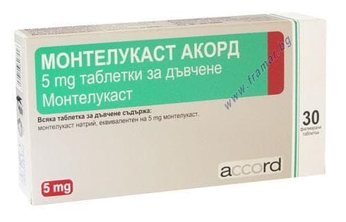 Изображение към продукта МОНТЕЛУКАСТ дъвчащи таблетки 5 мг * 30 АКОРД