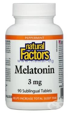 МЕЛАТОНИН сублингвални таблетки 3 мг. * 90 НАТУРАЛ ФАКТОРС - изображение