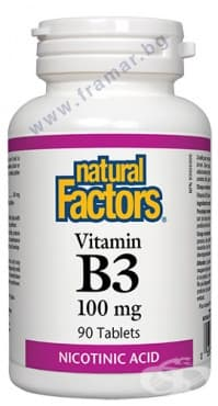 ВИТАМИН Б3 таблетки 100 мг. * 90 НАТУРАЛ ФАКТОРС - изображение