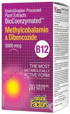 ВИТАМИН Б 12 (МЕТИЛКОБАЛАМИН И ДИБЕНКОЗИД) сублингвални таблетки 3000 мкг. * 30 НАТУРАЛ ФАКТОРС - изображение