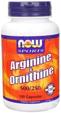 Изображение към продукта НАУ ФУДС АРГИНИН 500 мг. ОРНИТИН 250 мг. капс.  * 100