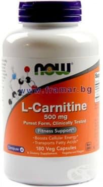 Изображение към продукта НАУ ФУДС L - КАРНИТИН капсули 500 мг * 180