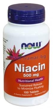 Изображение към продукта НАУ ФУДС ВИТАМИН Б 3 НИАЦИН табл. 500 мг. * 100
