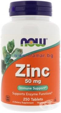 Изображение към продукта НАУ ФУДС ЦИНК ГЛЮКОНАТ таблетки 50 мг * 250