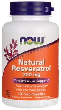 Изображение към продукта НАУ ФУДС НАТУРАЛЕН РЕСВЕРАТРОЛ капсули 200 мг. * 120