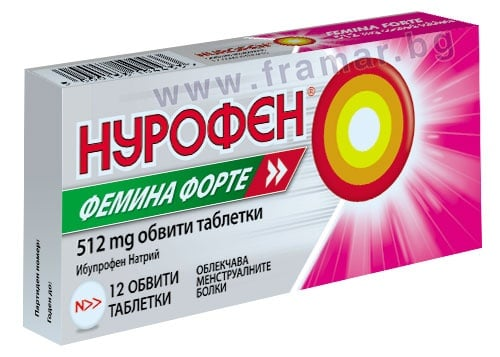 Изображение към продукта НУРОФЕН ФЕМИНА ФОРТЕ обвити таблетки 512 мг * 12