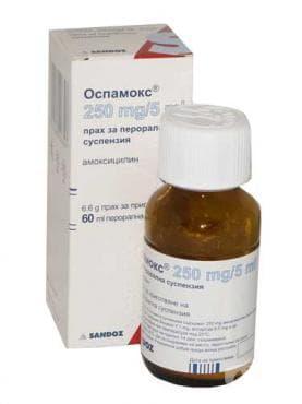 ОСПАМОКС суспенсия  250 мг. -  5 мл. 60 мл. - изображение