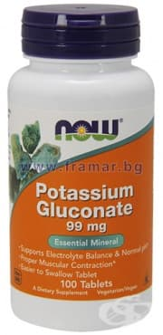 Изображение към продукта НАУ ФУДС ПОТАСИУМ ГЛЮКОНАТ табл. 99 мг. * 100