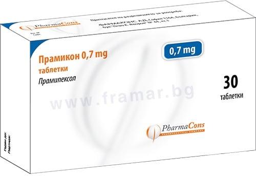 Изображение към продукта ПРАМИКОН таблетки 0.7 мг / 1.00 / * 30