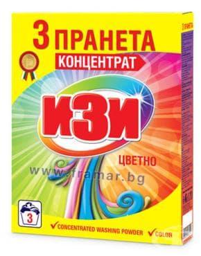 Изображение към продукта ИЗИ ПРАХ ЗА ПРАНЕ ЦВЕТНО 3 ПРАНЕТА 120 гр.