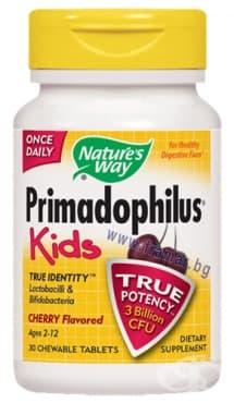 ПРИМАДОФИЛУС КИДС - ЧЕРЕША дъвчащи таблетки 68 мг. * 30 NATURE'S WAY - изображение