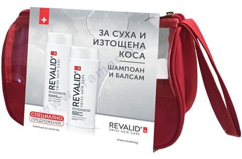 Изображение към продукта РЕВАЛИД КОМПЛЕКТ ЗА СУХА И ИЗТОЩЕНА КОСА ШАМПОАН + БАЛСАМ + НЕСЕСЕР