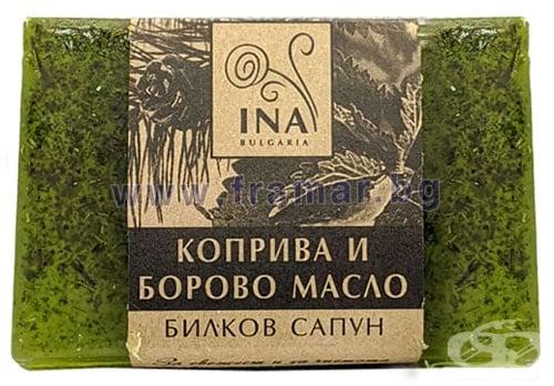 Изображение към продукта ИНА ЕСЕНШЪЛС БИЛКОВ САПУН КОПРИВА И БОРОВО МАСЛО 105 г