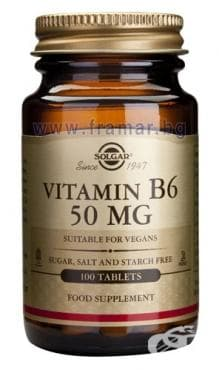 Изображение към продукта СОЛГАР ВИТАМИН Б6 табл. 50 мг. * 100