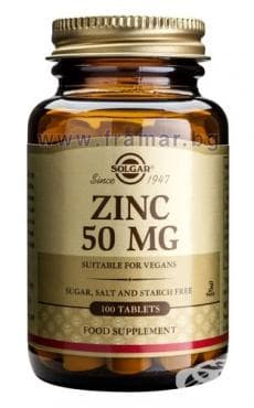 Изображение към продукта СОЛГАР ЦИНК ГЛЮКОНАТ табл. 50 мг. * 100