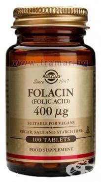 Изображение към продукта СОЛГАР ФОЛИЕВА КИСЕЛИНА таблетки 400 мкг. * 100