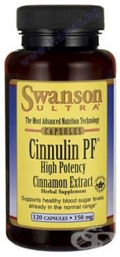 СУОНСЪН CINNULIN PF ЕКСТРАКТ ОТ КАНЕЛА капсули 150 мг. * 120 - изображение