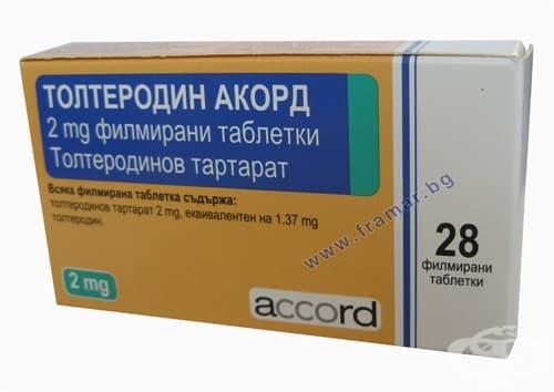 Изображение към продукта ТОЛТЕРОДИН АКОРД филмирани таблетки 2 мг. * 28 ACCORD HEALTHCARE LTD