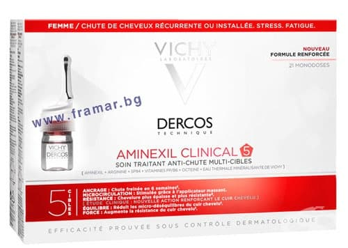 Изображение към продукта ВИШИ ДЕРКОС AMINEXIL CLINICAL 5 АМПУЛИ ПРОТИВ КОСОПАД ЗА ЖЕНИ * 21