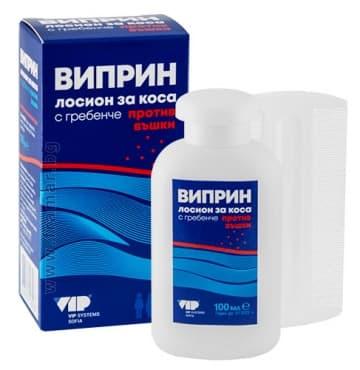 Изображение към продукта ВИПРИН ПРОТИВ ВЪШКИ И ГНИДИ лосион + гребен 100 мл