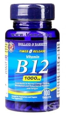 Изображение към продукта ВИТАМИН Б 12 таблетки с удължено освобождаване 1000 мкг * 100 HOLLAND & BARRETT
