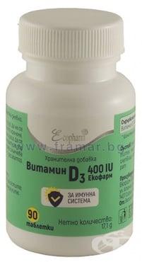 Изображение към продукта ВИТАМИН D3 таблетки 400 IU * 90 ЕКОФАРМ