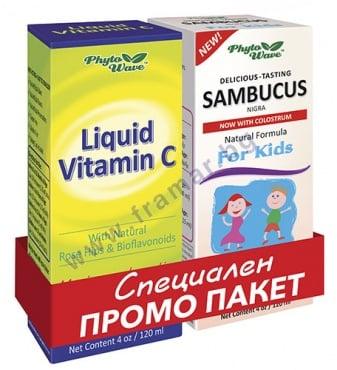 Изображение към продукта ВИТАМИН С сироп 120 мл + САМБУКУС сироп за деца 120 мл PHYTO WAVE
