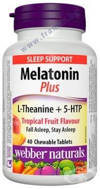 Изображение към продукта МЕЛАТОНИН + L - ТЕАНИН + 5 - НТР дъвчащи таблетки * 40 УЕБЪР НАТУРАЛС