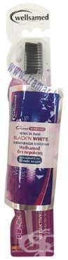ЧЕТКА ЗА ЗЪБИ ВЕЛСАМЕД BLACK'N WHITE С АКТИВЕН ВЪГЛЕН + ИЗБЕЛВАЩИ ЛЕНТИ WELLSASTRIPS - изображение